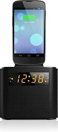 Philips AJ3200 Radio e Orologio, Docking Station e Caricabatterie Universale per Smartphone con Sintonizzatore FM, Allarme, Nero