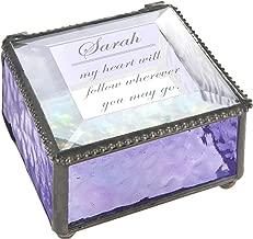 Personalized Jewelry Box Decorative Vanity Display Case Storage Organizer Keepsake Gift for Friend Daughter Sister Girl Women Vintage Decor J Devlin Box 899 EB246 Series (Purple)