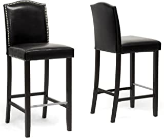 Baxton Studio Bar Stool 2-Piece Set, Black