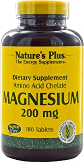 NaturesPlus Magnesium Amino Acid Chelate - 200 mg, 180 Vegetarian Tablets - Bone Support Supplement, Promotes Healthy & St...
