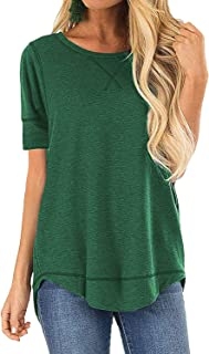 POGTMM Women's Summer T-shirts Tops Loose Casual V-Notch Tee Tops Short Sleeve Cotton T-Shirts Tunic Tops