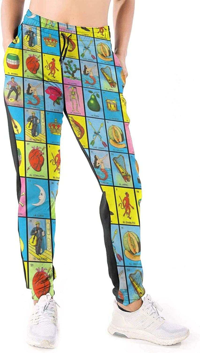 Women Joggers Pants Mexican Loteria Bingo Pattern Athletic Sweatpants with Pockets Casual Trousers Baggy