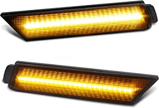 RUXIFEY Smoked Lens LED Side Marker Lights Front Bumper Sidemarker Lamps Reflectors Compatible with 2010 to 2015 Chevy Camaro Amber - Pack of 2