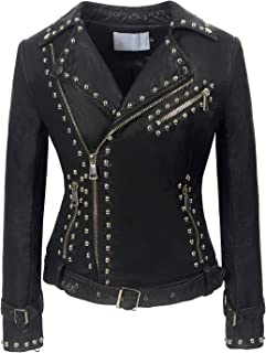 Women's Cool Studded Asymmetric Zip Snake-Skin Perfect Suede Leather Moto Jacket