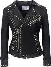 chouyatou Women's Cool Studded Asymmetric Zip Snake-Skin Perfect Suede Leather Moto Jacket