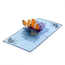 CUTPOPUP   Orca Whale   3D Pop-Up All Occasion Greeting Card   This Card Open to Display a Majestic Orca Whale Rising from The Sea Makes a Lovely Gift Card   with Envelope (Nemo Clownfish)