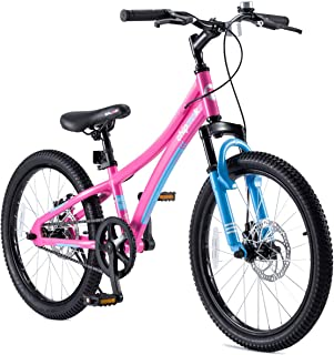 Royalbaby Boys Girls Kids Bike Explorer 20 Inch Bicycle for 7-12 Years Old Front Suspension Aluminum Child's Cycle with Disc Brakes Blue Pink