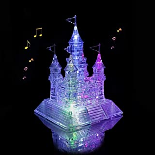 Coolplay 20 Songs Musical 3D Crystal Castle Puzzle for Adults Brain Teaser Light-Up Base Included, 105pcs