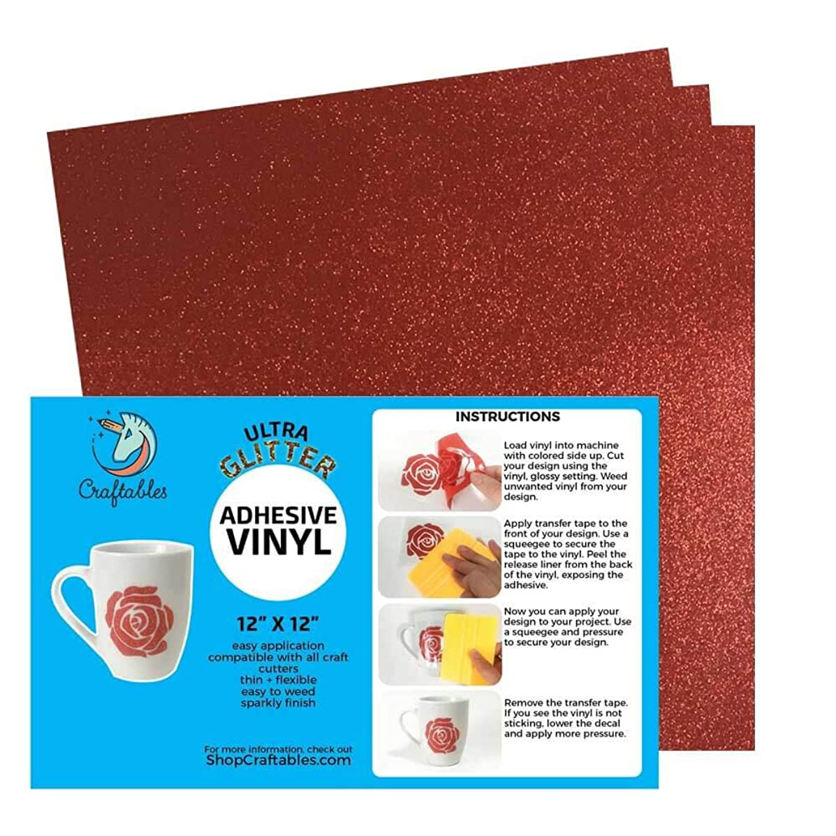 Craftables Dark Red Ultra Glitter Adhesive Vinyl for Cricut, Silhouette Cameo, and Craft Cutters - (3) 12in x 12in Sheets