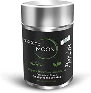 Matcha Moon - Organic Ceremonial Grade Japanese Matcha Green Tea Powder from Uji Kyoto Japan - Authentic, Premium, USDA Certified - Best For Traditionally Whisked Tea - Pure Zen - Value Size 100g Tin