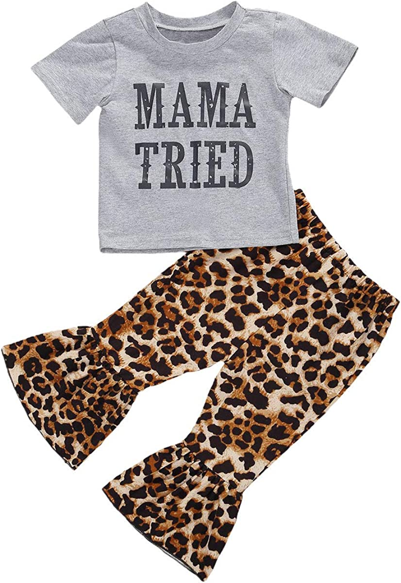 2Pcs Infant Baby Girl Leopard Bell Bottoms Outfits Letter T-Shirt Top+Cheetah Flare Pants Summer Fall Clothes Set