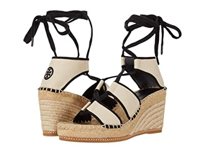Tory Burch Color-Blocked 65 mm Lace-Up Espadrille (Cream/Perfect Black) Women