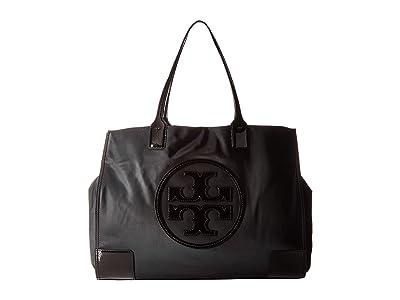 Tory Burch Ella Patent Tote (Black) Tote Handbags