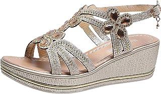 Damessandalen met riempjes, Romeinse sandalen, wigvormige sandalen met strass, slingback wedge peep toe sandalen, zomer ou...