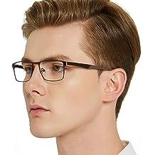 180ee8cdd28 OCCI CHIARI Mens Rectangle Eyewear Full-Rim Metal Non-Prescription Clear  Optical Glasses