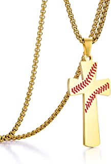 ADoor Baseball Stainless Steel Cross Pendant Necklace for Boy or Men with 22