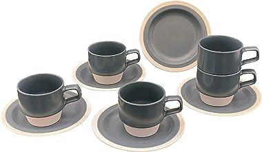 ドルチェデュオ カップ ソーサー 5客セット グレー 無地 スタッキング コーヒーカップ 来客用 接客用 220ml DAM-149