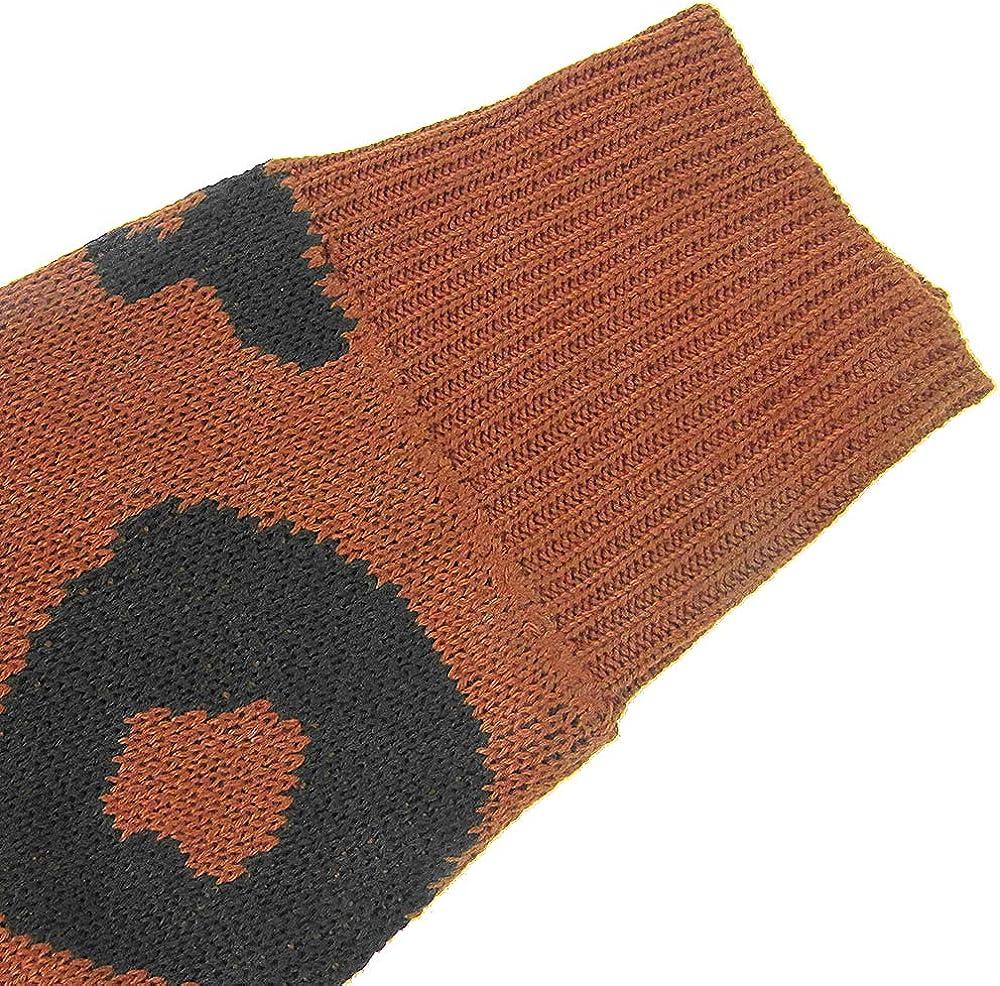 Women Leopard Cardigan Open Front Long Sleeve Loose Sweater Knit Outwear Coat with Pockets