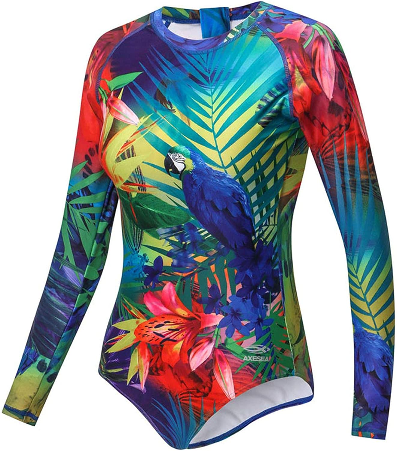 ONLYFORME1 Women Rashguard Long Sleeve OnePiece Swimwear Upf50+ Print Floral Back Zipper Surf Rash Guard