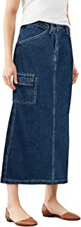 Womens Super Comfy Long Denim Maxi Skirt Size