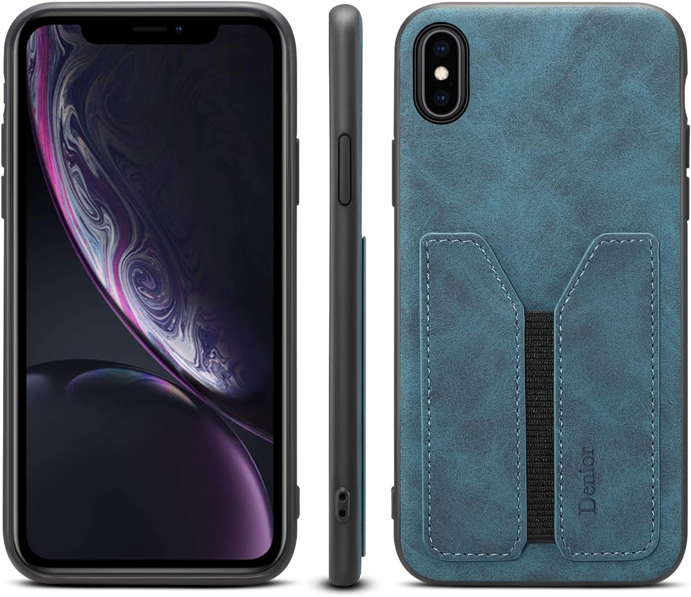 Case for iPhone Xs Max,Soft PU Durable Fashion Credit Card Slot Shockproof Slim Credit Card Sleeve Women Girl Men Cellphone Cover Shell