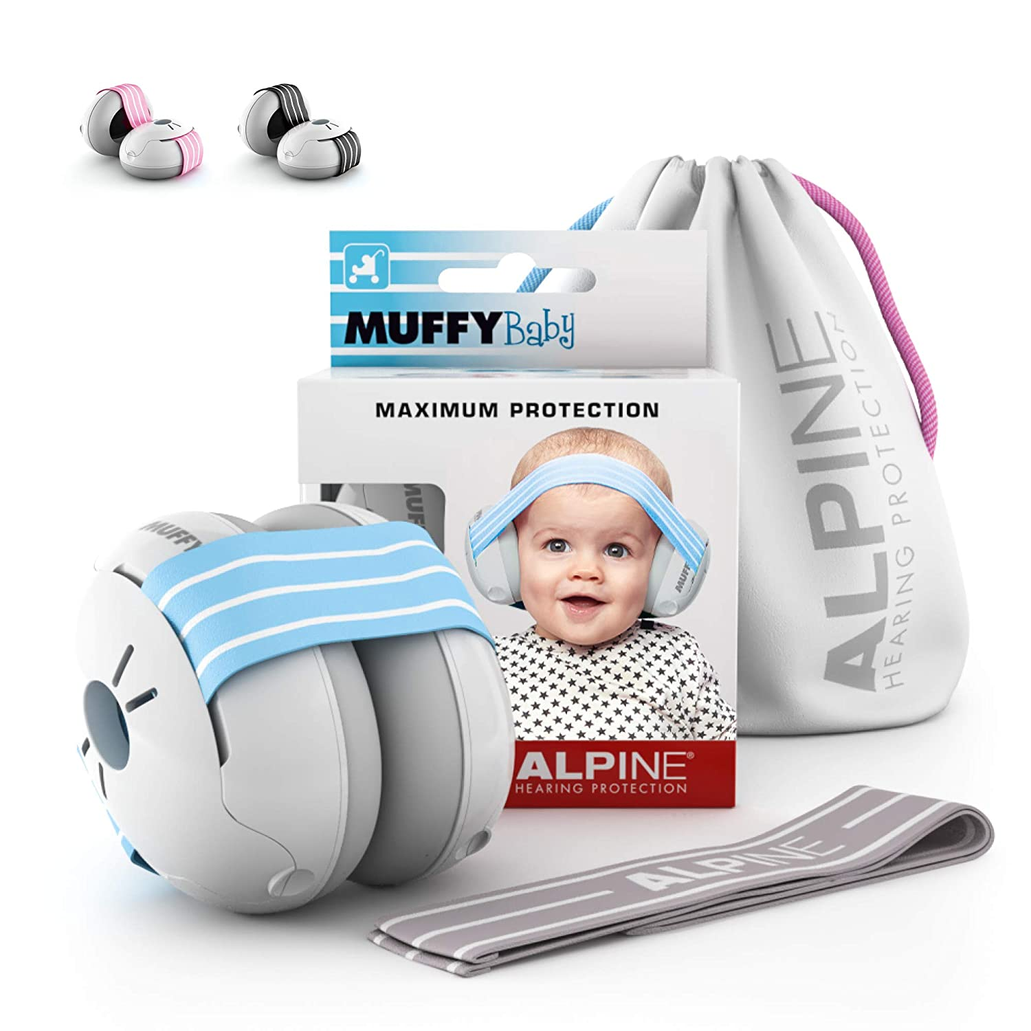 Alpine Muffy Baby Ear Protection for Newborn and Babies 3 - 36 Months – Noise Reduction Earmuffs for Toddlers and Children – Comfortable Infant Ear Muffs Prevent Hearing Damage & Improve Sleep, Blue