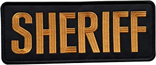 """uuKen Embroidery Cloth Fabric Sheriff Patch Black and Yellow 10x4 inches for Military Police Tactical Vest Jacket Uniform Plate Carrier Back Panel (Black and Yellow, XL 10""""x4"""")"""
