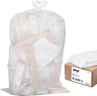 """Plasticplace Contractor Trash Bags 55-60 Gallon - 3.0 Mil, Clear Heavy Duty Garbage Bag 38"""" x 58"""" (25 Count)"""