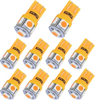 YITAMOTOR 194 168 LED Bulb Amber, 2827 158 175 2825 906 W5W T10 Wedge LED Non-Polarity Replacement RV Interior Light Bulb for Car Dome Map Door Courtesy License Plate Lights, 10-Pack