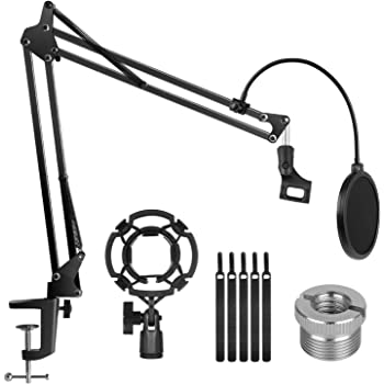 """InnoGear Microphone Stand Adjustable Suspension Boom Scissor Arm Stand with 3/8""""to 5/8"""" Screw Adapter Shock Mount Windscreen Pop Filter Mic Clip Holder Cable Ties for Microphones"""