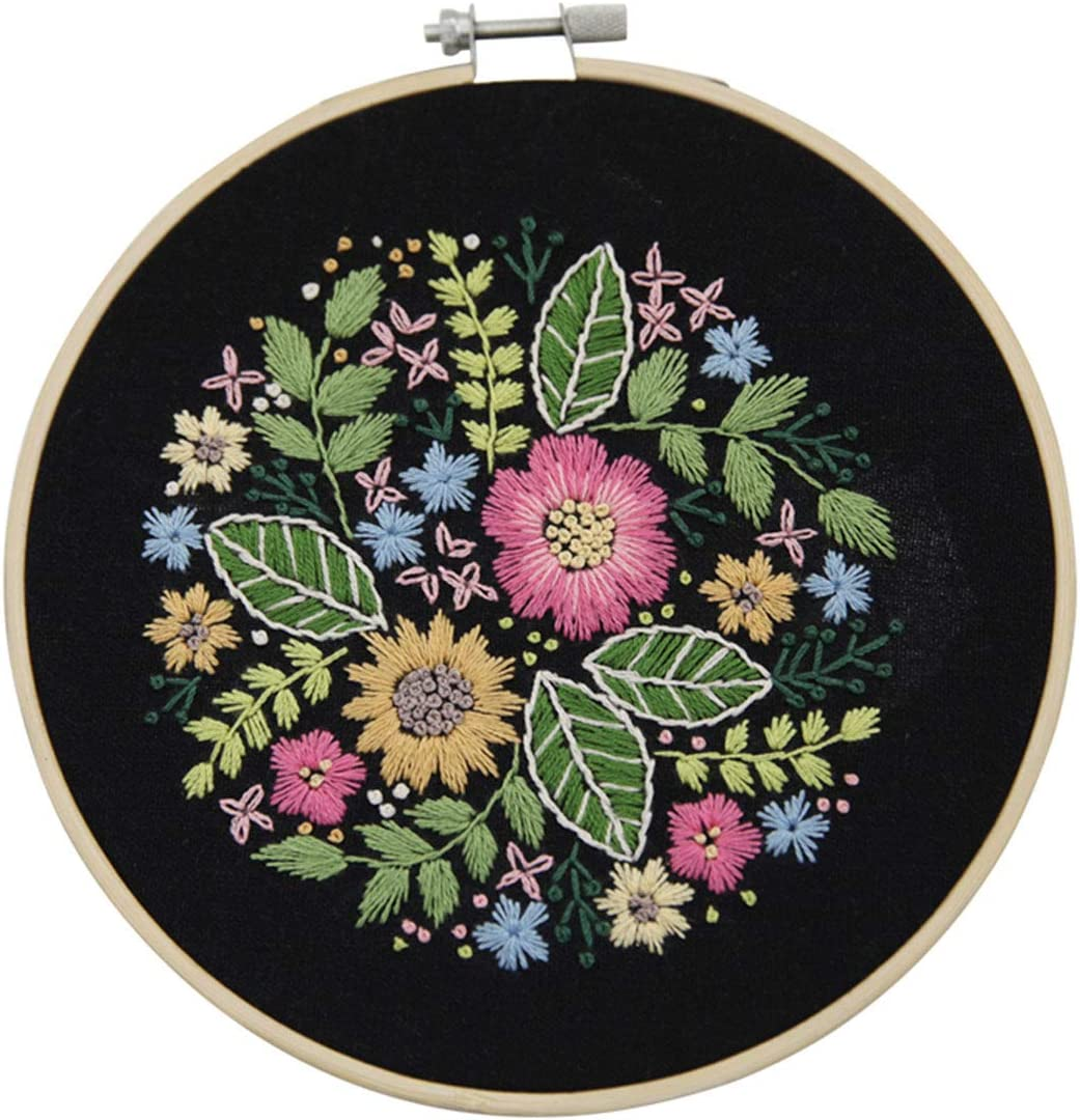 YESSART Stamped Embroidery Kit for Beginner Starter Flower Pattern Floss Hoop Needles Cloths Included