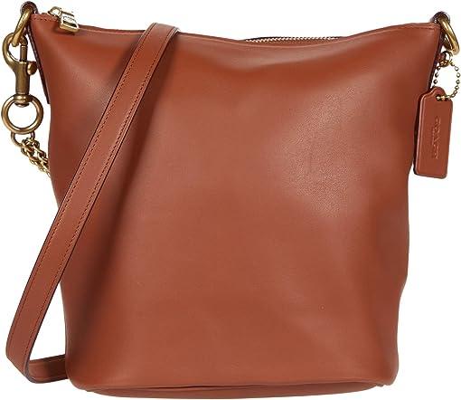 코치 시그니처 체인 더플백 COACH Soft Glovetanned Leather Signature Chain Duffel 21,Saddle