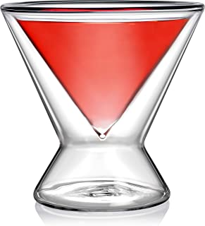 Dragon Glassware Martini Glasses, Premium Designer Stemless Cocktail Glasses with Insulated Double-Walled Design, 8-Ounces, Gift Boxed - Set of 4