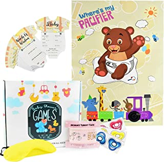 Baby Shower Games   Gender Neutral for Girls and Boys   Including 50 Advice & Prediction Cards, Where's my Pacifier Game and New Mom Tummy Tape   Gender Reveal Party Box