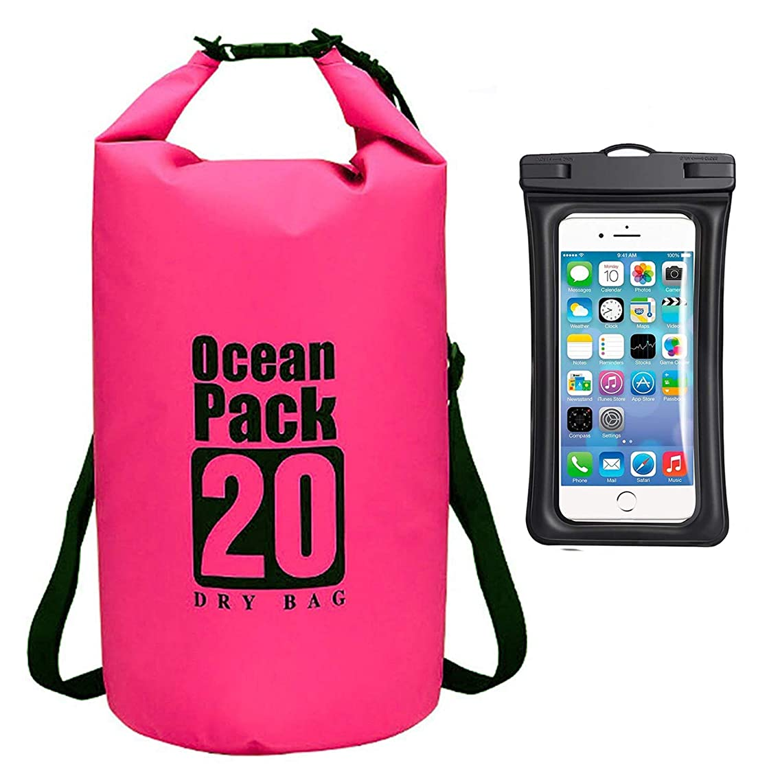 HAMISS Heavy Duty PVC Water Proof Dry Bag Sack Backpack for Camping Fishing Boating Kayaking Swimming Rafting Ocean Resistant 2L/3L/5L/10L/15L/20L/30L (20L, Pink)