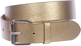BBBelts Men 1-1//2 White Leather Smooth Plain Rustic Silver Snap On Buckle Belt