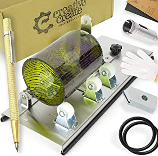 Glass Bottle Cutter Kit with Adjustable Track-System. Cuts Round, Oval, Square, Large, Small Bottles & Bottlenecks. Easy 3-step process. Tool for cutting Beer, Wine, Liquor Bottles. (Stainless Steel)