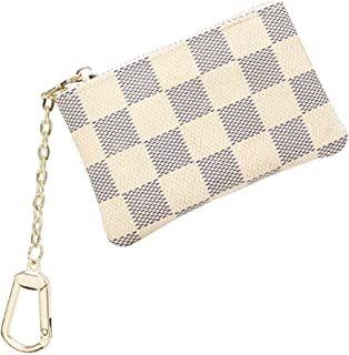 Tobert Checkered Key Pouch Zipper Bag Coin Purse Leather Change Credit Card Holder Coin Wallet with Clasp