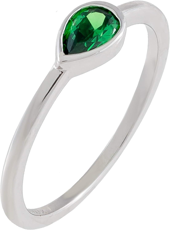 Hidden Gems Jewelry Pear-Shaped Simulated Super beauty product Dedication restock quality top Emerald Bezel-Set Cubi