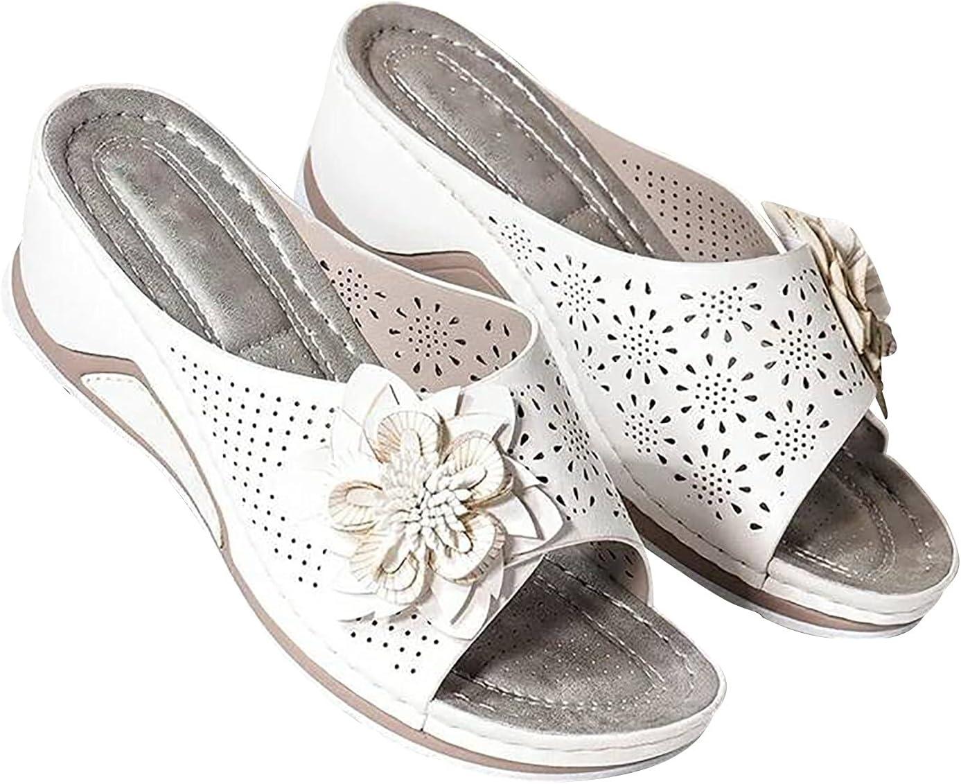 Women Orthopedic Wedge Sandals,Comfy Peep Toe Slides Sandals Vintage Fish Mouth Soft Orthopedic Arch-Support Sandals,Flip Flops Sport Orthotic Arch Support Sandals