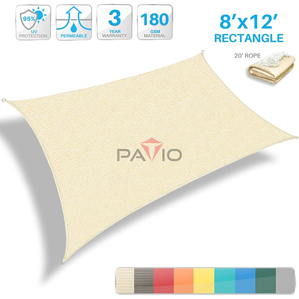 Patio Paradise 8' x 12' Tan Beige Sun Shade Sail Rectangle Canopy - Permeable UV Block Fabric Durable Outdoor - Customized Available