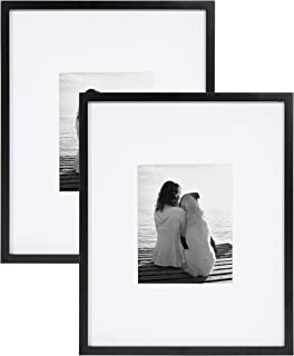 DesignOvation Gallery Wood Photo Frame Set for Customizable Wall Display, Pack of 2, 16x20 matted to 8x10, Black
