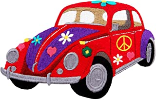 Flower Power Peace Sign Car Embroidered Patch Iron-On 1960s Hippie Emblem