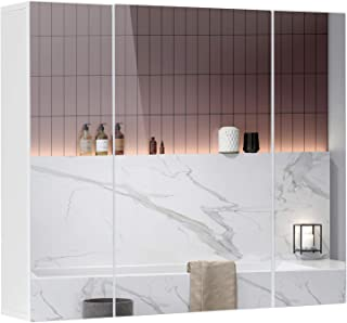 DICTAC Medicine Cabinet Bathroom Cabinet with Mirror Doors 27.56x23.62 Inch Wall Cabinet with Shelves Mirro...