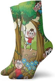 Kevin-Shop, Calcetines Casuales de Tobillo Alto, niños, Monos, Monos Jugando en un Bosque exótico con Grandes árboles y Flores de Margaritas