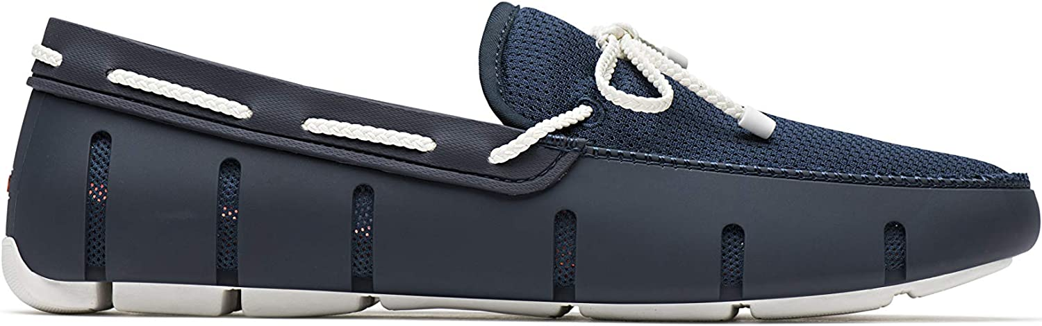 Swims Braided Lace Loafer shoes in Navy & White