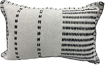 "LR Home Modern Stitched Throw Pillow, 16"" x 24"", Black/White"