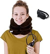 DaviSMART Neck Traction ✮ Effective Neck Pain Remedy at Home ✮ Inflatable & Adjustable Cervical Stretcher (Brown)