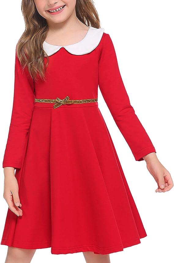 Kids 1950s Clothing & Costumes: Girls, Boys, Toddlers Arshiner Little Girls Dresses Long Sleeve Doll Collar Swing Party Dress  AT vintagedancer.com