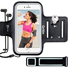"""Gritin Running Armband for iPhone 8/7/6 Plus, Skin-Friendly Sweatproof Sports Running Armband with Key and Headphone Slot for Cellphone up to 6.1""""- Perfect for Jogging, Gym, Cycling, Biking, Hiking"""